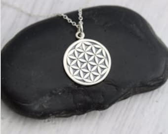 sacred geometry necklace | flower of life pendant | love knot religious jewelry | silver spiritual art pendent | FOL | model 13