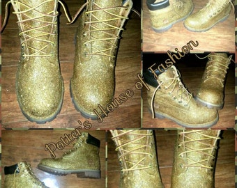 Adult or teen 24K gold glitter Timberland boots!