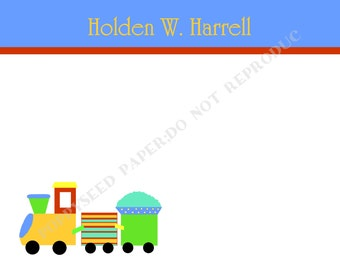 Train note card, personalized flat note cards, Thank You Note, stationery, with name