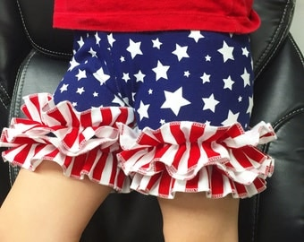 American flag shorties, double ruffle smerican flag dhorts, girlx doubld tifhks shorts, baby shorts, patrioric rufhle shorts, icings