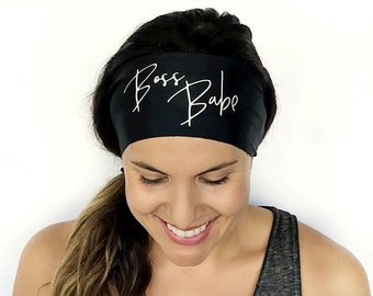 Yoga Headband - Boss Babe Print - Running Headband - Fitness Headband - Fitness Apparel - Workout Headband