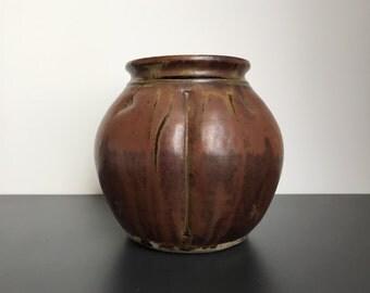 British Studio Potter John Jelfs Vase with Tenmoku Glaze