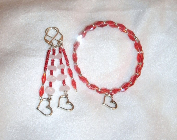 Heart charm jewelry set, Red AB Crystal/ Rose Quartz , red AB crystal , Rose Quartz chip beads, earrings, memory wire bracelet, gift 4 her