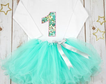 First Birthday Oufit Girl, 1st Birthday Outfit, Aqua Liberty Outfit, Aqua Tutu, Baby Girl Outfit, Personalised Birthday Shirt, Personalized