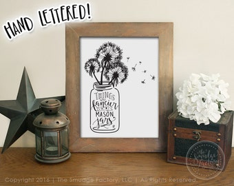 Mason Jar Printable File, Dandelion Wall Art, Hand Lettered, Original Art Drawing, Wish Home Decor Print, Mason Jar DIY Print, Make A Wish