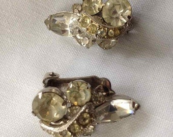 Vintage Weiss Jewelry Faceted Clear Rhinestone Earrings  - Made in USA - 1950's to 1960's
