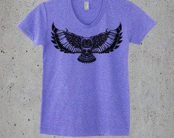 Yoga Clothes,Womens OWL T Shirt)Hiking Shirt,Boho Shirt,Owl T-shirt-Graphic Tee Women,Native American Apparel Clothing