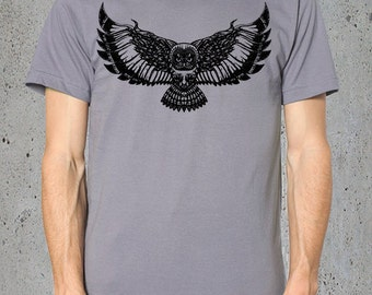 Boyfriend Gift-Mens Graphic Tee,(OWL Shirt-Mens Tribal Owl)-Gift For Him,Bohemian Clothing-Native American Apparel-Hiking Shirt