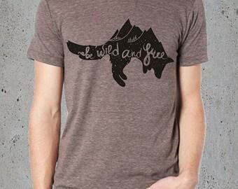 Hiking Shirt,Mens Tee-(JUMPING FOX Tshirt)Fox T-shirt-Boyfriend Gift-American Apparel Men's clothing--College Student Gift-