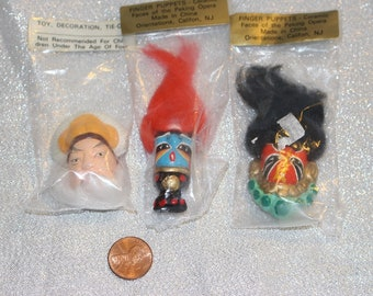 Vintage Finger Puppets, Faces of the Peking Opera, Toy Game, Orientations Califon, NJ