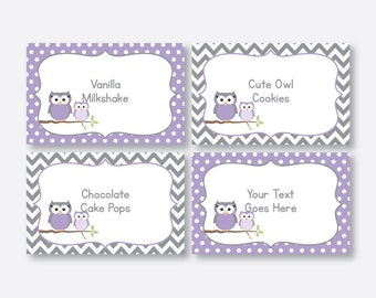 Instant Download, Editable Owl Food Labels, Purple Owl Baby Shower Food Labels, Owl Food Tags, Buffet Card, Owl Printable, Boy, Girl(SBS.46)