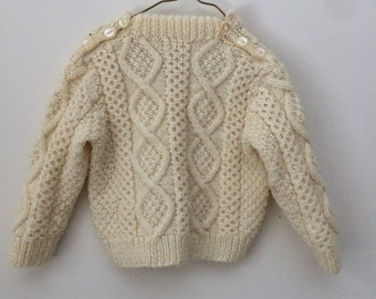 Cream Fisherman Cable Crewneck Sweater - size 12months