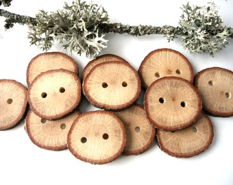 Wooden buttons set of 10, natural rustic wood buttons , branch buttons, craft supplies, craft accessories #2