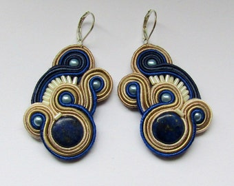 Soutache Earrings Beige - Navy