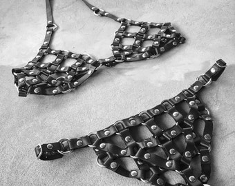 Erotic Lingerie, See Through Lingerie, Harness Bra, BDSM Lingerie, Sheer Lingerie, Sexy Lingerie, Leather Lingerie, Leather Cage Bra