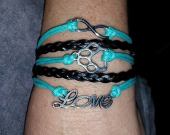 Pet Love Dog Cat Paw Infinity Bracelet