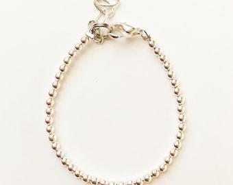 Silver 2mm Dainty Beaded Bracelet
