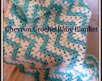 Baby Shower Handmade Crochet Baby Blanket Turquoise White Baby Afghan Baby Shower Gift Baby Boy
