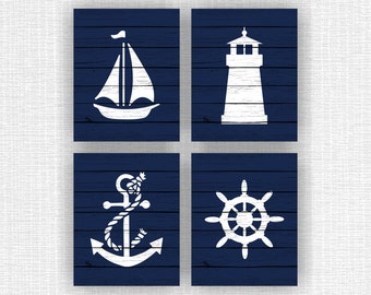 Navy and white Nautical prints for boys, Anchor, Sailboat, Lighthouse, Wheel, Wooden boards, Nautical Set of 4, 8x10, INSTANT DOWNLOAD