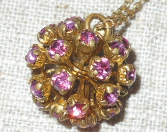 1930s crystal brass pendant and chain