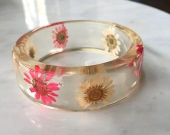 Lucite Flower Bangle Bracelet