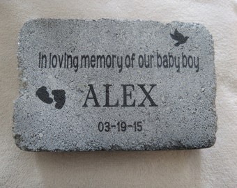 Personalized Child-Baby Loss-Infant Loss Remembrance Memorial 6 x 9 Concrete Stone Keepsake-In Memory-Sympathy