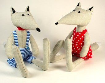 Natural Rug Wolf Dolls, Couple of Linen grey wolves