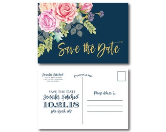 Floral Wedding Save the Date, Floral Wedding, Watercolor Floral, Watercolor Wedding, Save the Date, Wedding Save the Date Postcards #CL322