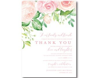Vintage Botanical Thank You Card, Floral Thank You, Vintage Flowers, Botanical Thank You Card, Wedding Card, Thank You Card #CL340