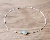 Light Blue Solar Quartz Agate Druzy Pendant // Silver Ball Chain Beaded Satellite Chain Choker Necklace
