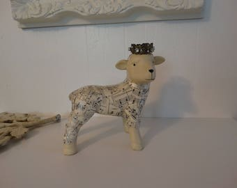 Lamb decoupaged crowned Shabby Farmhouse Home Decor