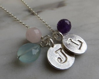 Silver Letter Charm & Gemstone Cluster Necklace