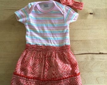 Onsie Dress 3-6 Months, Baby Girl Dress, Pink Dress, Stripe Dress, Red Dress, Bodysuit Dress, Baby Gift, Baby Girl, Bow, Headband