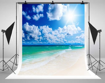 Tropical Beach Sunny White Clouds Blue Sky Photography Backdrops No Wrinkles Photo Backgrounds for Summer Vacations Studio Props