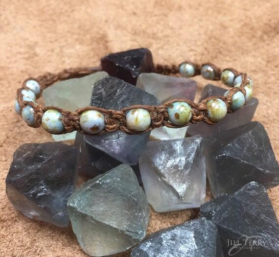 Macrame Blue-Green Lumi Picasso Czech Beaded Bracelet / Anklet