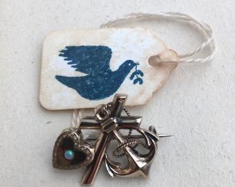 Victorian faith, hope and love brooch