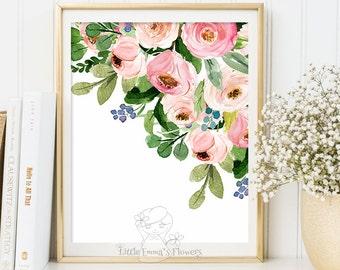 Nursery flower print nursery wall art printable flower decor floral illustration nursery decoration garden flower instant download 6-26
