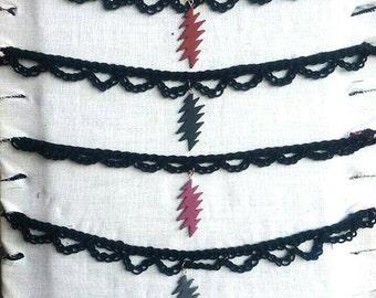 Crochet grateful dead lightening bolt choker necklace