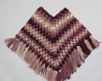 Caramel, crimson, pink and white poncho size 2