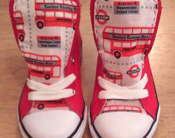 Infant's customised hand sewn pumps, juniors, women's, men's, hi tops, sneakers with London buses fabric