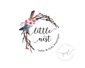Branch and flower logo, boho feather image, rustic branding, logo for boutique marketing, premade typographic logo, watercolor design