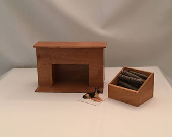 Dollhouse miniature rustic handcrafted fire place and wood box.