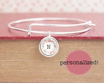 Initial Charm Bracelet - Letter Charm Bracelet -  Initial Bracelet - (S8490)