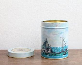 vintage tea tin storage box tin can metal nautical sailor boat ship sea ocean
