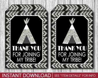 Tribal Birthday Favor Tags | Thank You Party Favor Tags | Printable Digital File | INSTANT DOWNLOAD