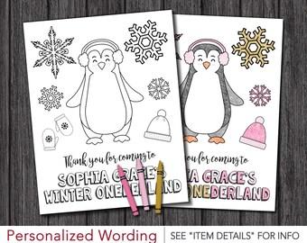 "Winter ONEderland Birthday Coloring Page • Printable DIY Digital File • 8.5"" x 11"" Coloring Sheet"