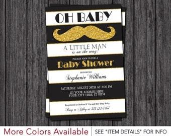 Little Man Baby Shower Invitation - Black and White Stripes, Mustache, Gold Glitter, Boys, Baby Sprinkle, Tuxedo, Classy