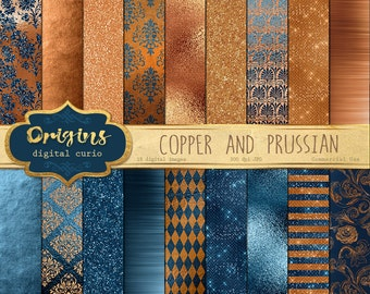 Copper and Prussian Textures, prussian blue and orange copper digital paper, metallic glitter, brushed metal, sparkle glam backgrounds