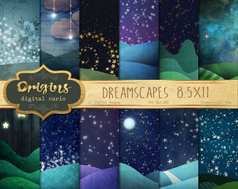 Dreamscapes 8.5x11 digital paper backgrounds, fantasy night sky scrapbook paper, landscapes, starry night sky papers, dream moon and stars