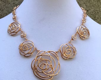 Gold Rose Flowers  Necklace  / Gold Rose Roses Bib Necklace.